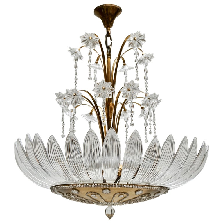 Murano Art Glass Flower Leaves and Brass Chandelier For Sale