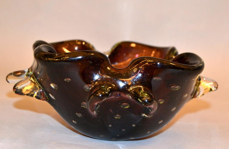 Mid-Century Modern Murano Art Glass Freeform Brown, Clear & Green Blown Glass Catchall, Bowl Italy For Sale