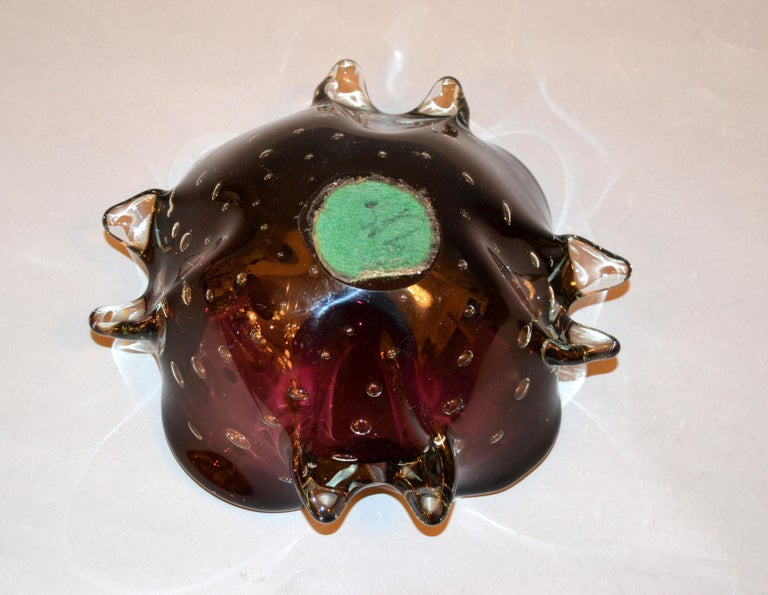 Murano Art Glass Freeform Brown, Clear & Green Blown Glass Catchall, Bowl Italy For Sale 1