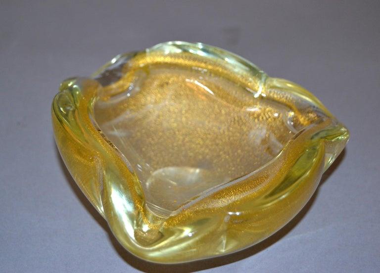 Mid-Century Modern Murano Art Glass Gold Flecks Ashtray, Catchall, Bowl Italy For Sale