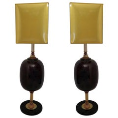Murano Art Glass Italian Midcentury Table Lamps, 1970