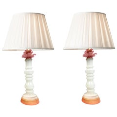 Murano Art Glass Modern Floral Columnar Pink and White Milk Glass Table Lamps
