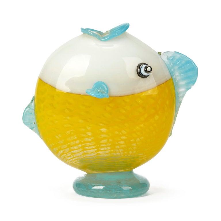 Italian Murano Art Glass Puffer Fish Vase, 20th Century For Sale