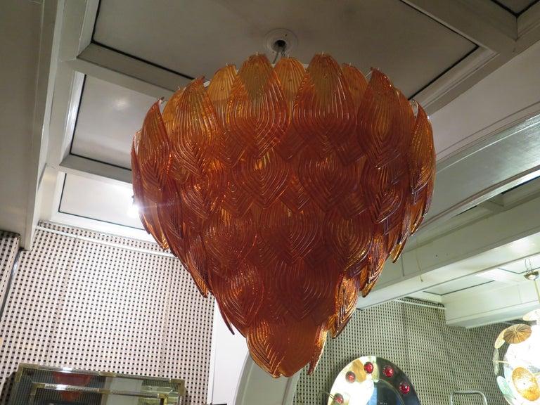 Murano Art Glass Round Orange Color Italian Art Deco Chandeliers, 1940 For Sale 5