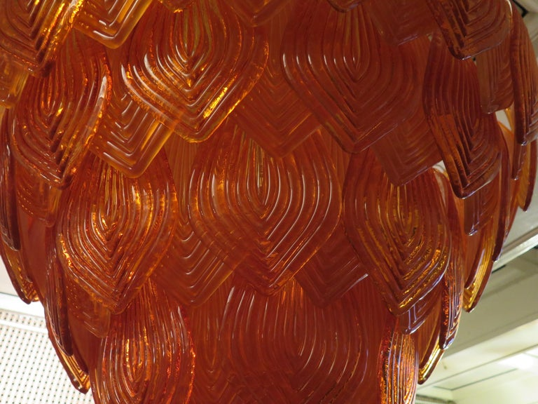 Murano Art Glass Round Orange Color Italian Art Deco Chandeliers, 1940 For Sale 8