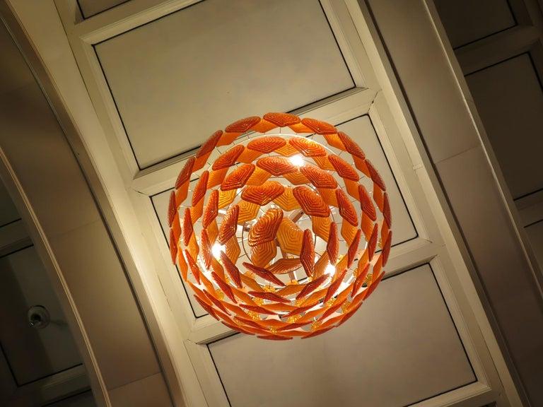 Murano Art Glass Round Orange Color Italian Art Deco Chandeliers, 1940 In Good Condition For Sale In Rome, IT