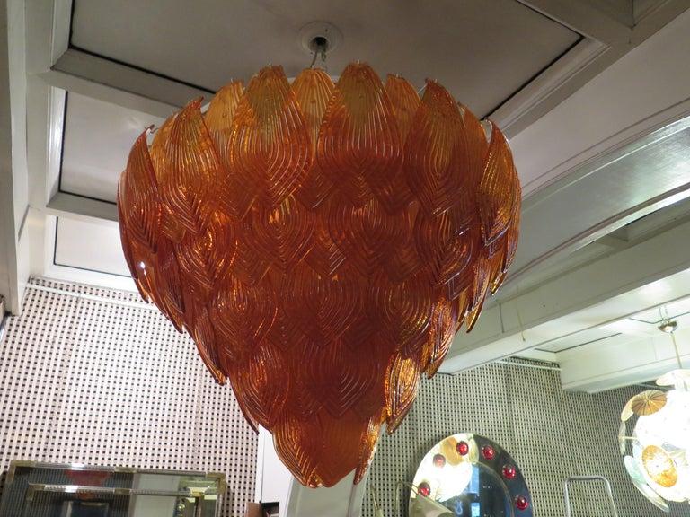 Mid-20th Century Murano Art Glass Round Orange Color Italian Art Deco Chandeliers, 1940 For Sale