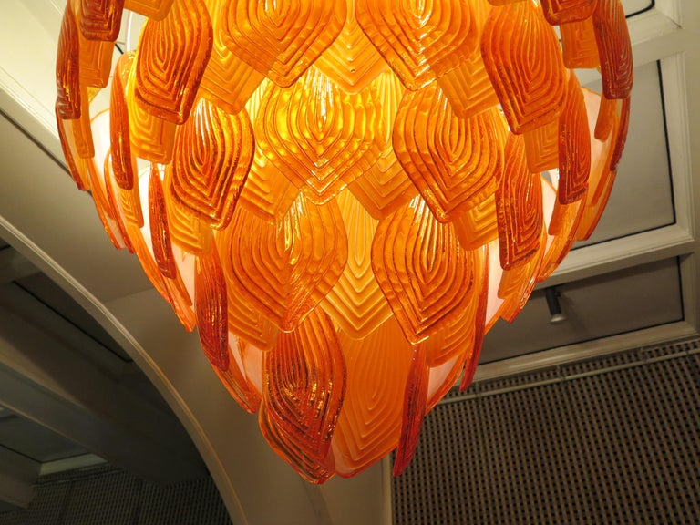 Murano Art Glass Round Orange Color Italian Art Deco Chandeliers, 1940 For Sale 2