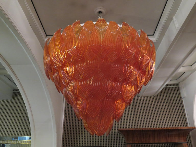 Murano Art Glass Round Orange Color Italian Art Deco Chandeliers, 1940 For Sale 4