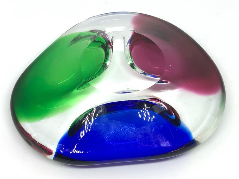 Murano Art Glass Sommerso Bowl Blue, Clear, Red and Green Vintage, Italy, 1980s In Good Condition For Sale In Nürnberg, DE