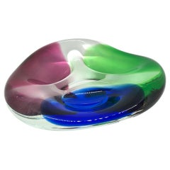 Murano Art Glass Sommerso Bowl Blue, Clear, Red and Green Vintage, Italy, 1980s