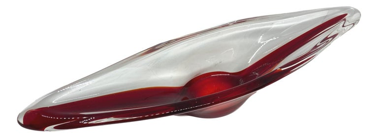Italian Murano Art Glass Sommerso Bowl Catchall Red and Clear Vintage, Italy For Sale