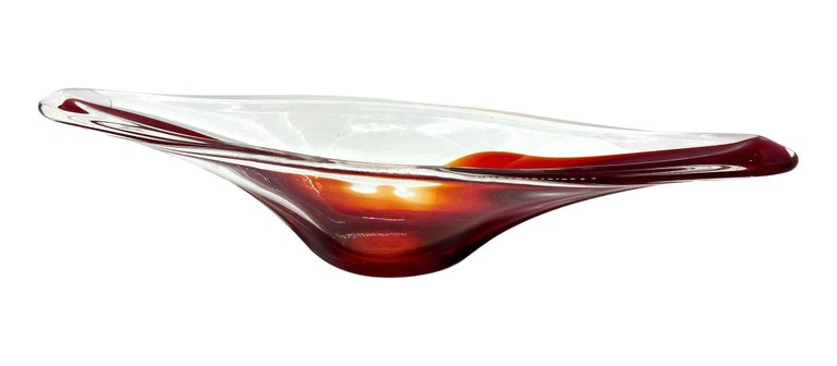 Late 20th Century Murano Art Glass Sommerso Bowl Catchall Red and Clear Vintage, Italy For Sale