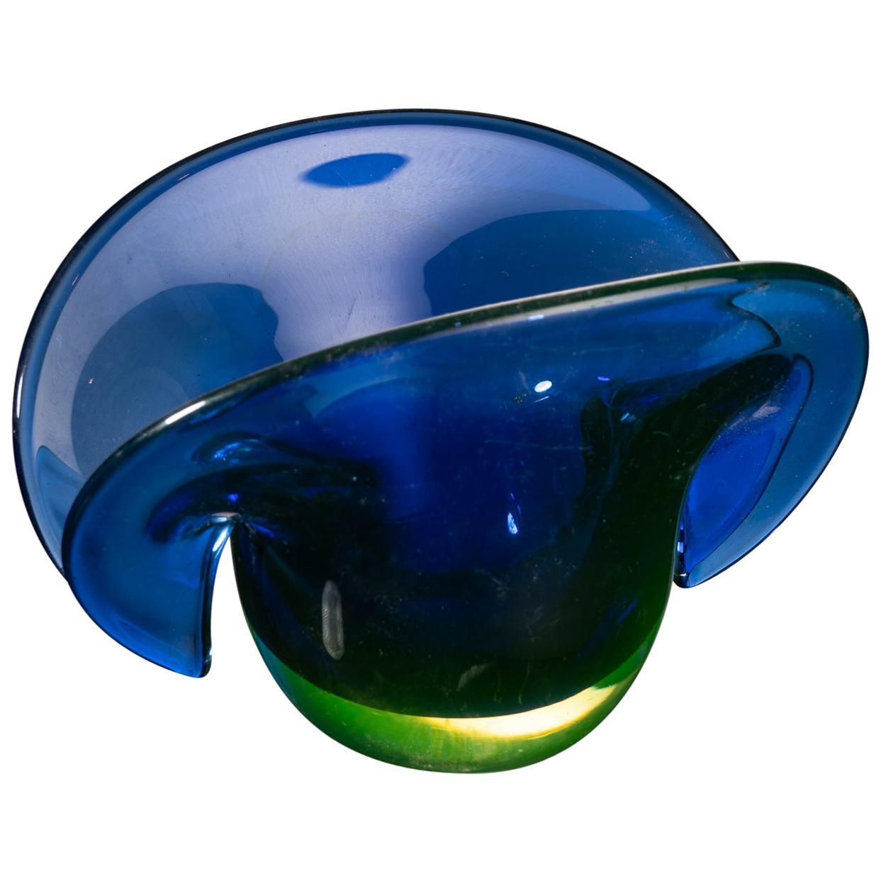 Murano Art Glass Split Top Blue and Green Vase
