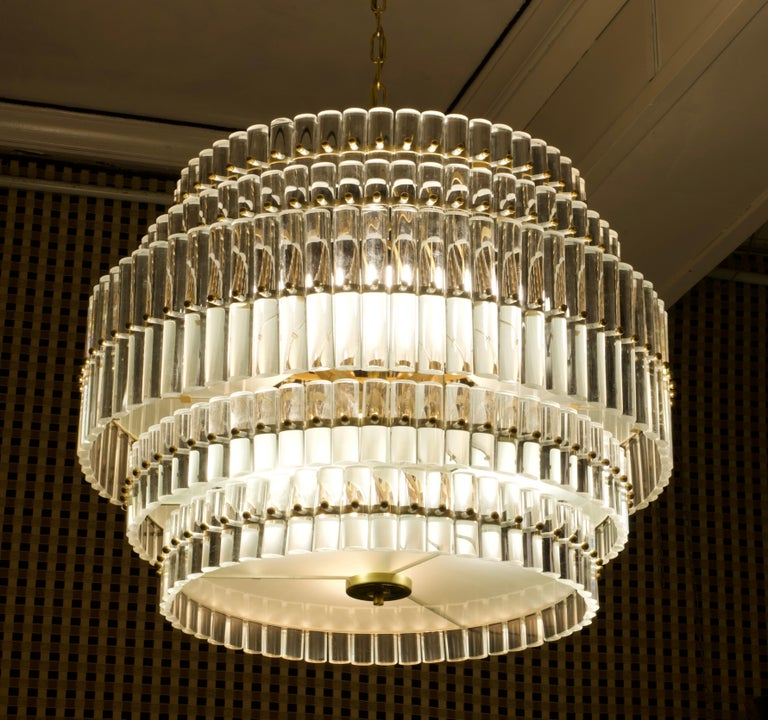 Italian Murano Art Glass Transparent and Brass Chandelier, 1970 For Sale