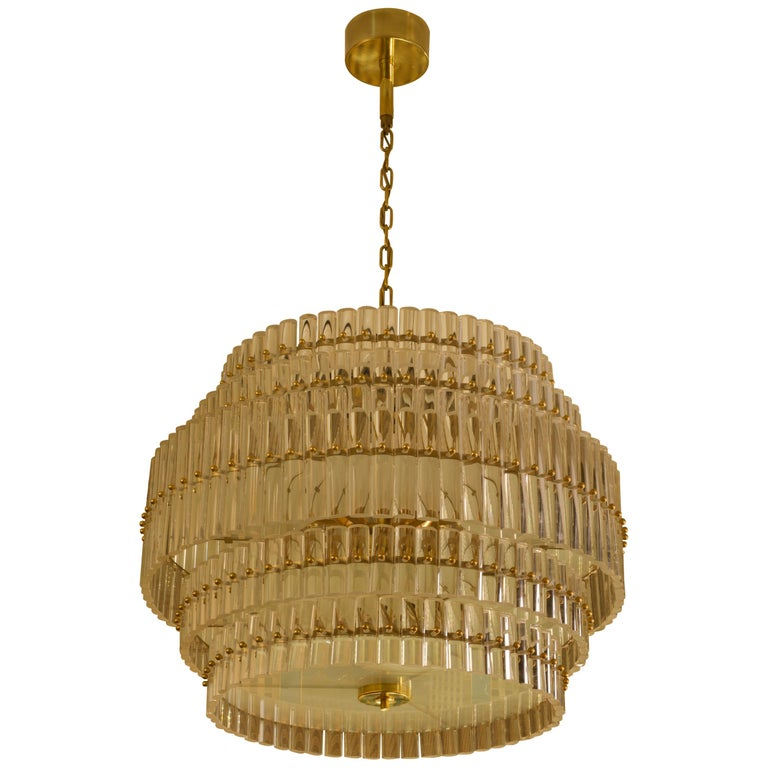 Murano Art Glass Transparent and Brass Chandelier, 1970 For Sale