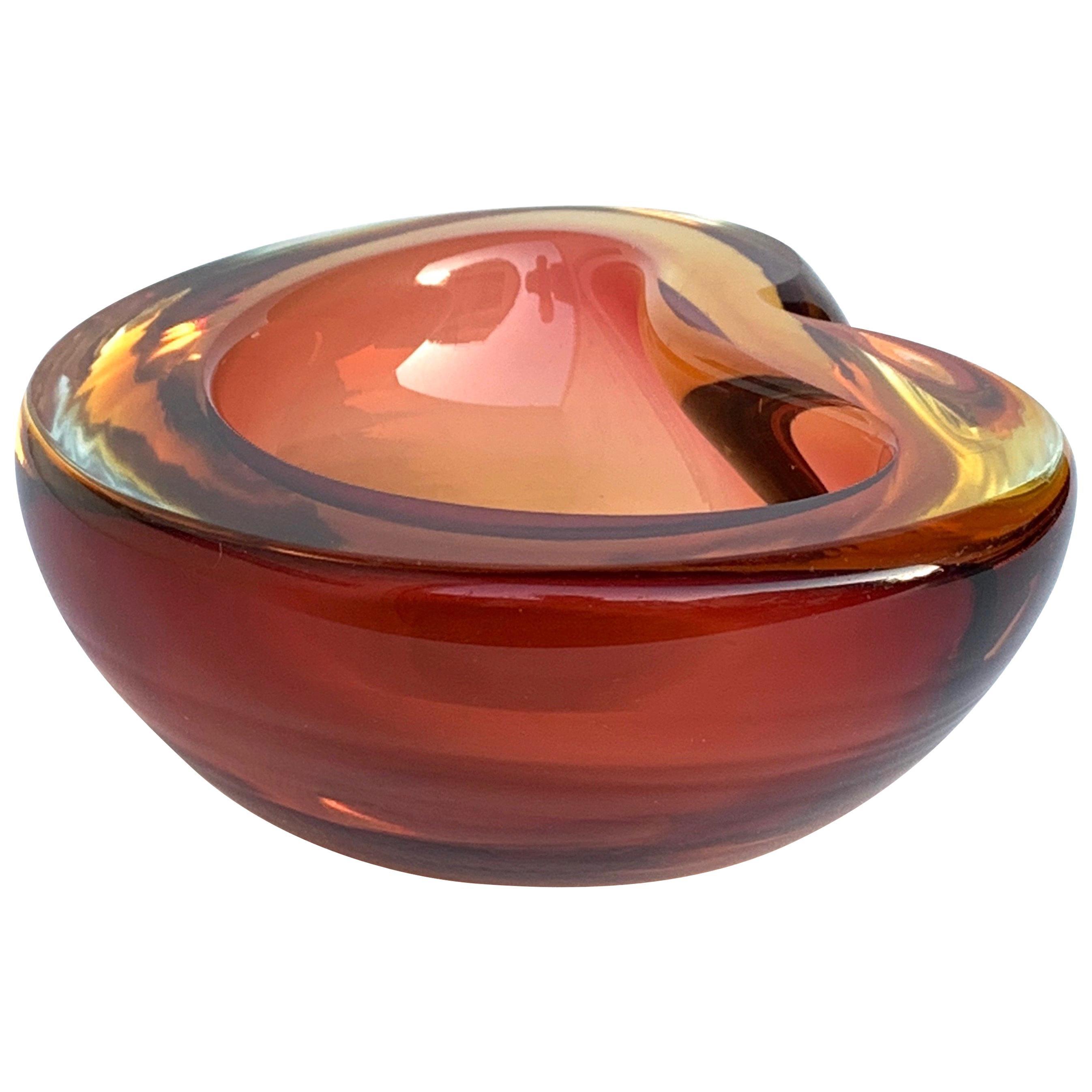 Murano Ashtray, Alfredo Barbini, Submerged Glass, Color Amber, Italy, 1960s
