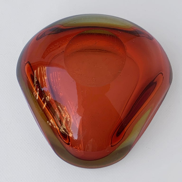Murano Ashtray, Flavio Poli, Submerged Glass, Amber, Glass, Italy, 1960s For Sale 4
