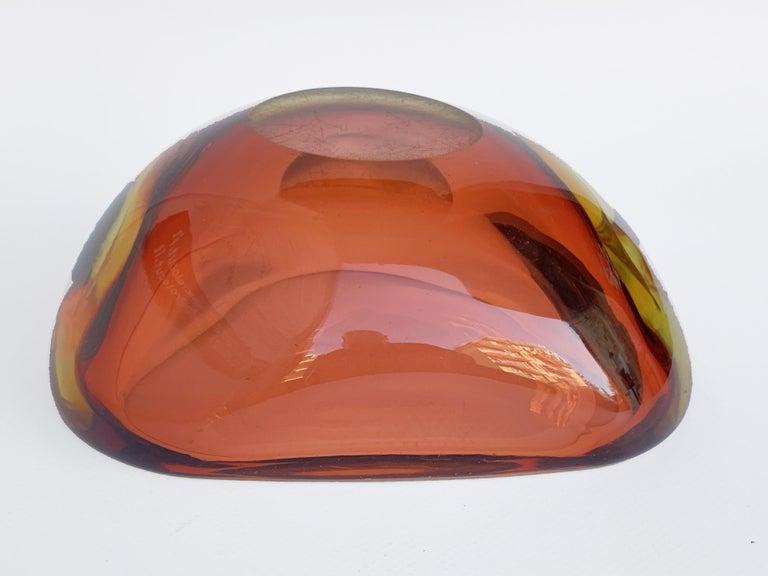 Murano Ashtray, Flavio Poli, Submerged Glass, Amber, Glass, Italy, 1960s For Sale 5