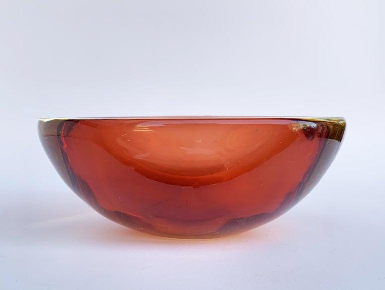 20th Century Murano Ashtray, Flavio Poli, Submerged Glass, Amber, Glass, Italy, 1960s For Sale