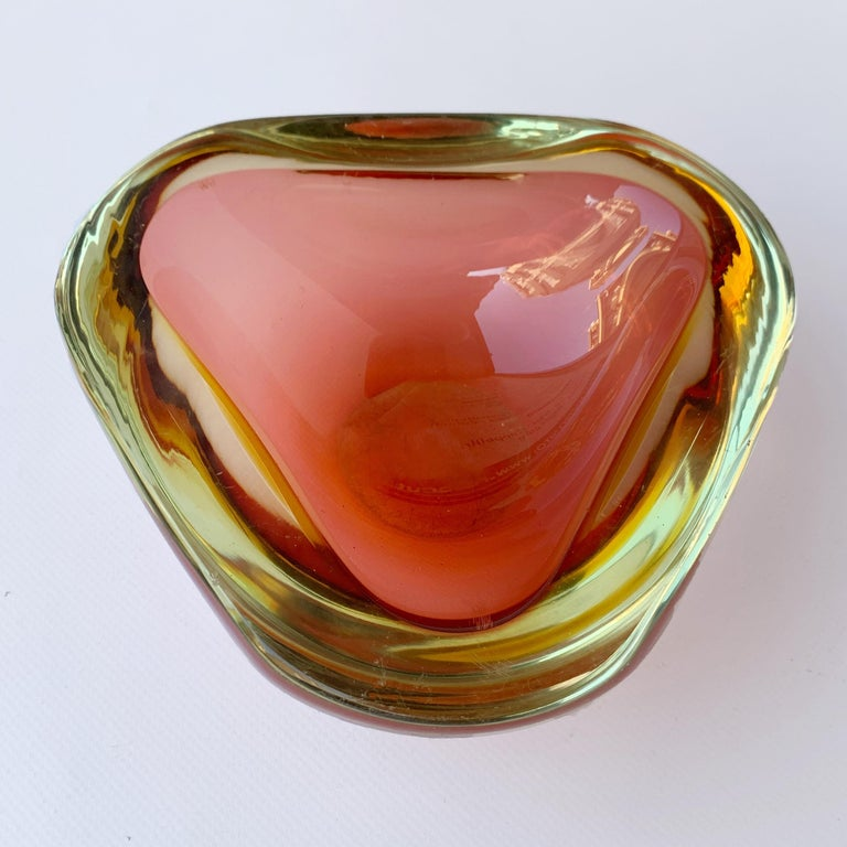 Murano Ashtray, Flavio Poli, Submerged Glass, Amber, Glass, Italy, 1960s For Sale 3