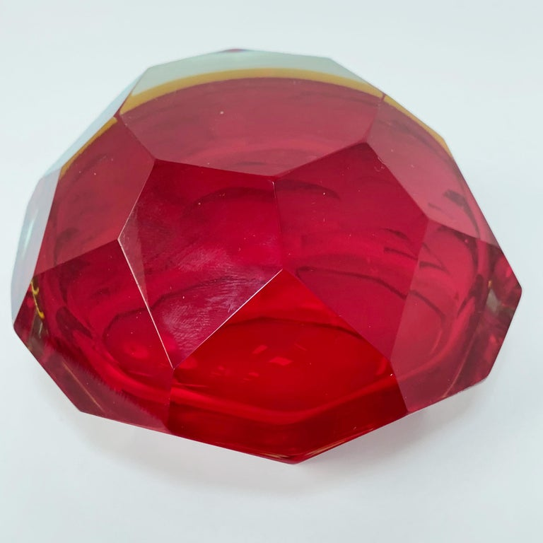 Murano Ashtray, Flavio Poli, Submerged Glass, Red Faceted Glass, Italy, 1950s For Sale 1