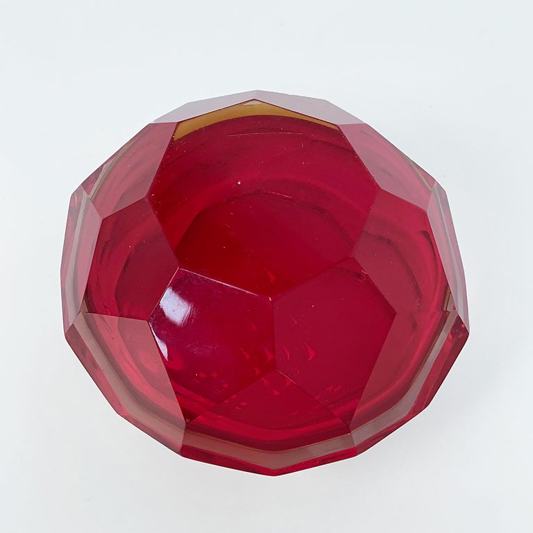 Murano Ashtray, Flavio Poli, Submerged Glass, Red Faceted Glass, Italy, 1950s For Sale 2