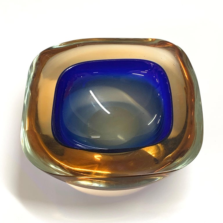 Murano Ashtray or Bowl, Flavio Poli Submerged Glass Amber Blue, Italy, 1960 For Sale 4