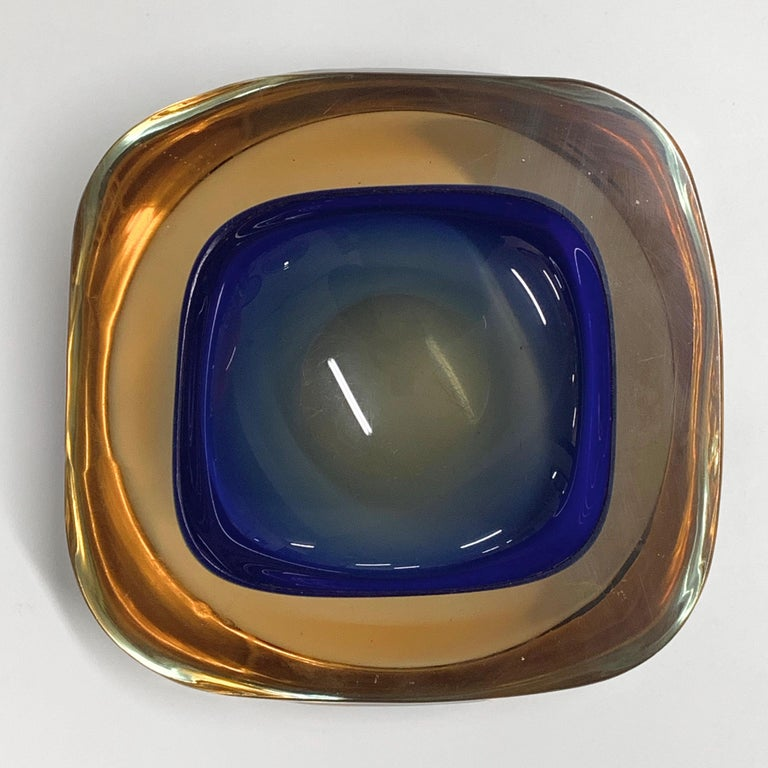 Murano Ashtray or Bowl, Flavio Poli Submerged Glass Amber Blue, Italy, 1960 For Sale 5