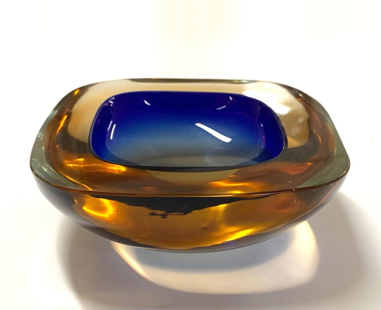 Murano Ashtray or Bowl, Flavio Poli Submerged Glass Amber Blue, Italy, 1960 For Sale 6
