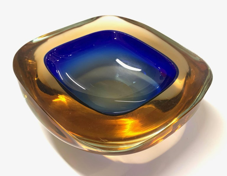 Murano Ashtray or Bowl, Flavio Poli Submerged Glass Amber Blue, Italy, 1960 For Sale 9