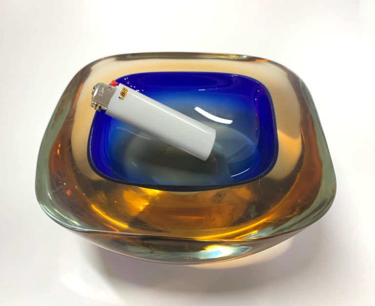 Murano Ashtray or Bowl, Flavio Poli Submerged Glass Amber Blue, Italy, 1960 For Sale 10