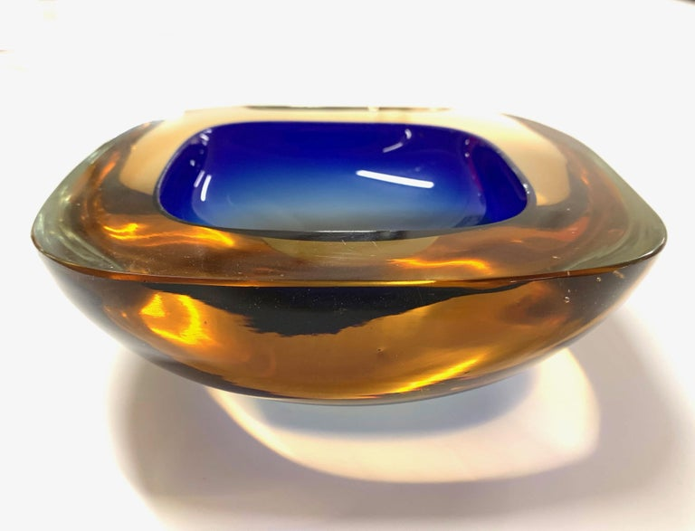 A beautiful glass of Amber and Blue coated Murano. Italy 1960s Ashtray or bowl, attributable to Flavio Poli, Vetro Sommerso.  No chipping.