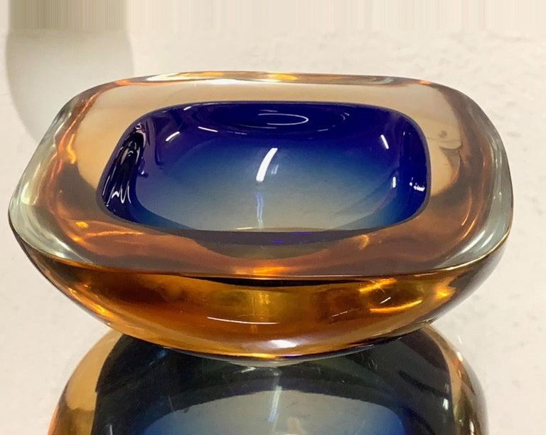 Murano Ashtray or Bowl, Flavio Poli Submerged Glass Amber Blue, Italy, 1960 In Good Condition For Sale In Roma, IT