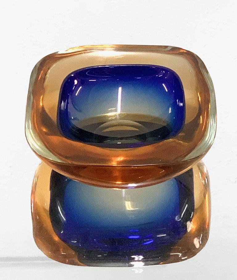 20th Century Murano Ashtray or Bowl, Flavio Poli Submerged Glass Amber Blue, Italy, 1960 For Sale