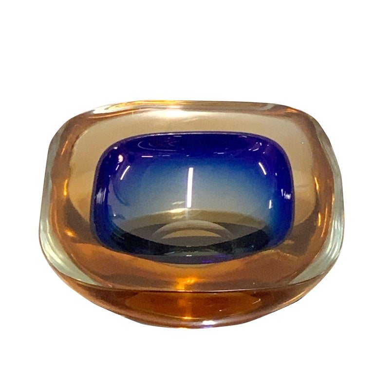 Murano Ashtray or Bowl, Flavio Poli Submerged Glass Amber Blue, Italy, 1960 For Sale 1
