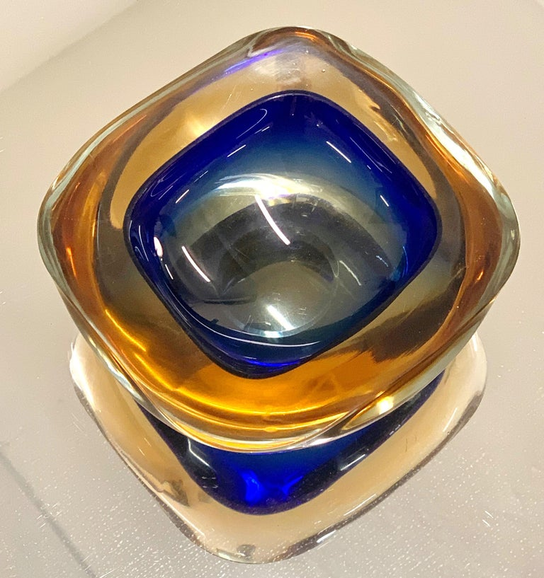 Murano Ashtray or Bowl, Flavio Poli Submerged Glass Amber Blue, Italy, 1960 For Sale 2