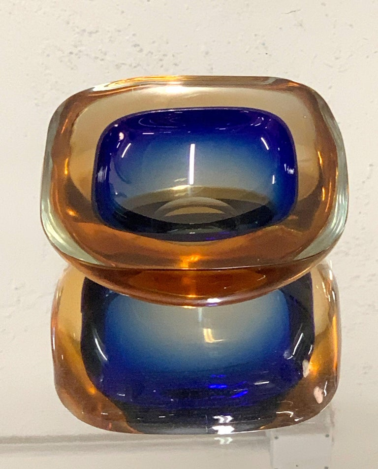 Murano Ashtray or Bowl, Flavio Poli Submerged Glass Amber Blue, Italy, 1960 For Sale 3