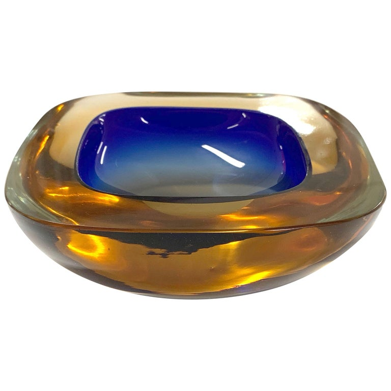 Murano Ashtray or Bowl, Flavio Poli Submerged Glass Amber Blue, Italy, 1960 For Sale