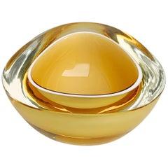 Murano Ashtray or Bowl, Flavio Poli, Submerged Glass, Yellow Cream, Italy, 1960