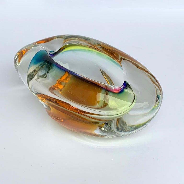 A beautiful glass of multi-color of Murano. Ashtray or bowl, submerged glass  No chipping.