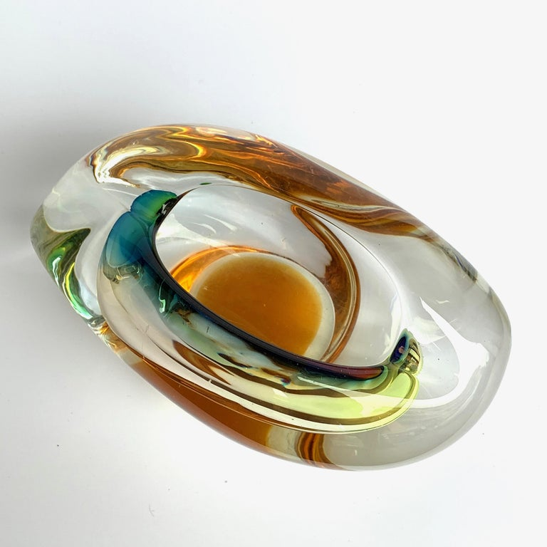 Italian Murano Ashtray or Bowl, Submerged Glass, Multi-Color, Italy, 1960 For Sale