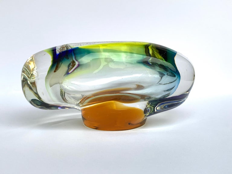 Murano Ashtray or Bowl, Submerged Glass, Multi-Color, Italy, 1960 In Good Condition For Sale In Roma, IT