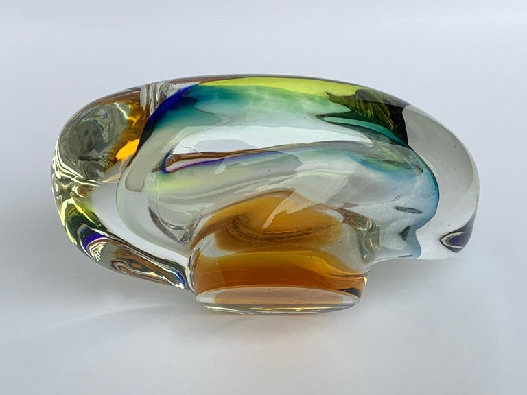 Murano Ashtray or Bowl, Submerged Glass, Multi-Color, Italy, 1960 For Sale 1