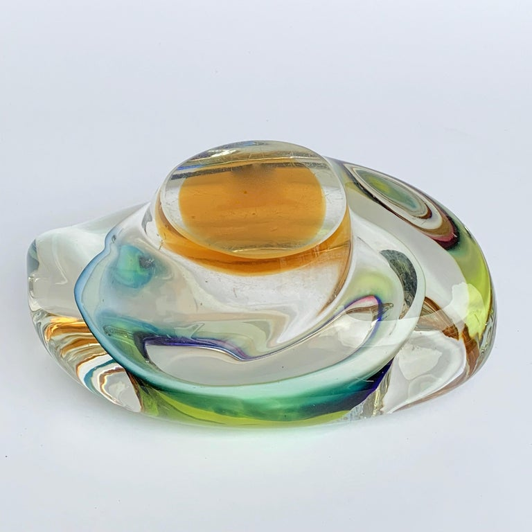 Murano Ashtray or Bowl, Submerged Glass, Multi-Color, Italy, 1960 For Sale 2