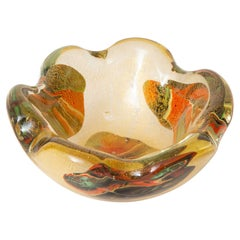 Murano Avem Gold, Red, Orange, Green Patchwork Scalloped Glass Bowl Vintage