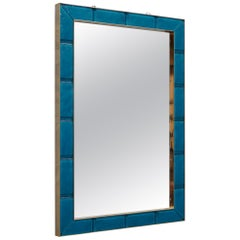 Murano Azure Color Glass and Brass Wall Mirror, 1980