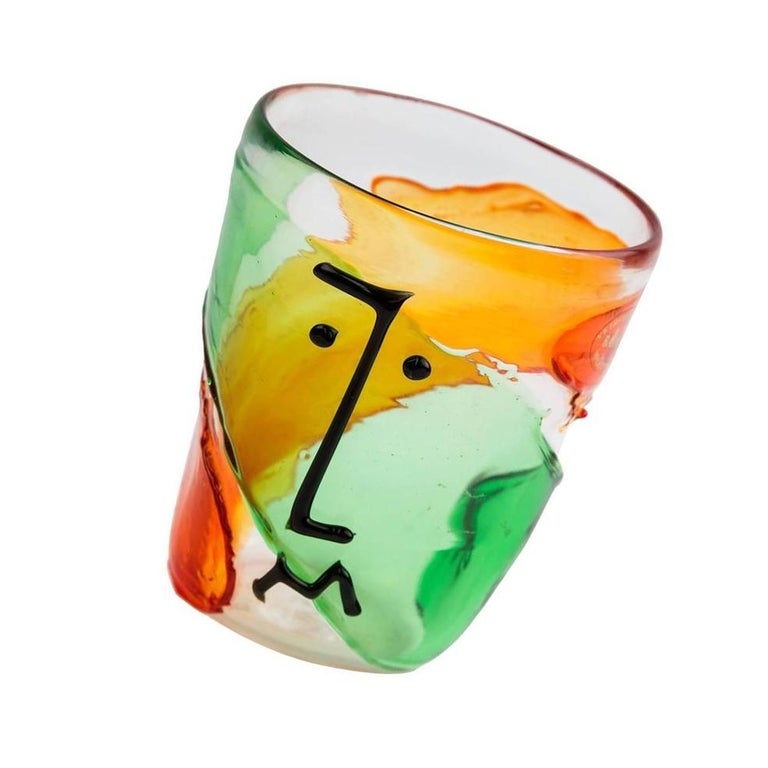 Murano Badioli Multicolored Picasso Style Abstract Glass Face Vase In Excellent Condition For Sale In Montreal, QC