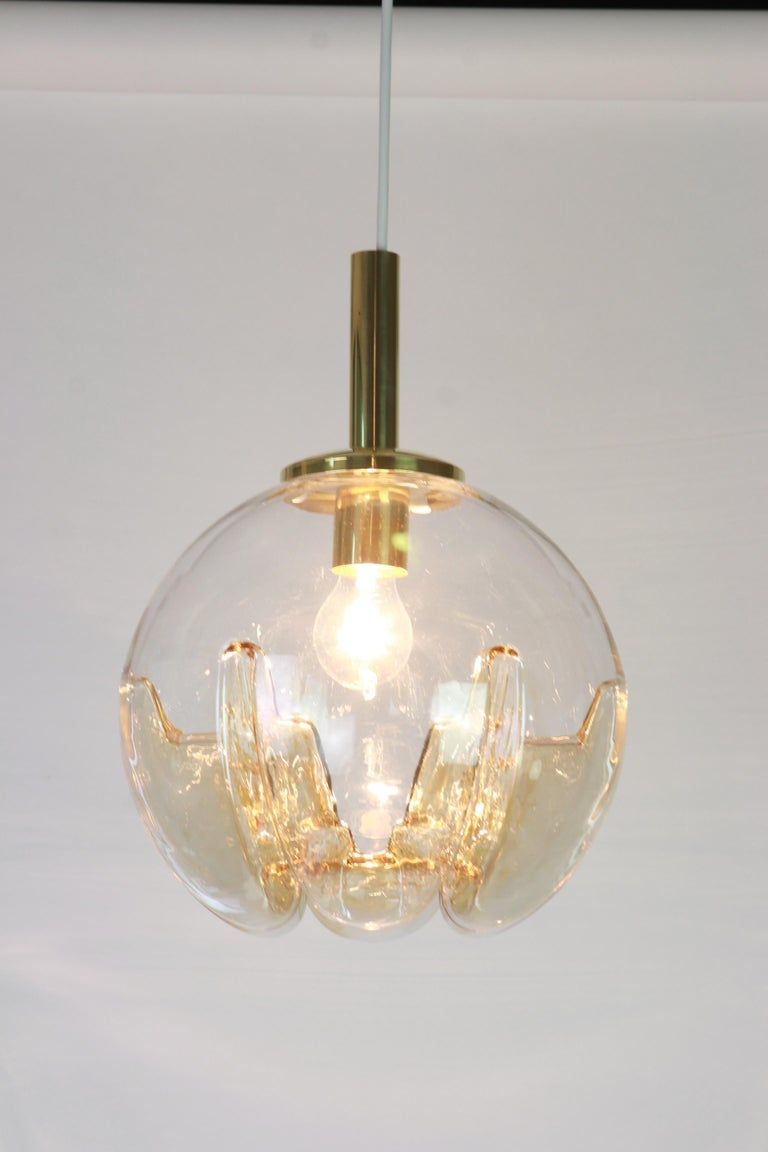 Mid-Century Modern 1 of 2 Murano Ball Pendant Light by Doria, Germany, 1970s For Sale