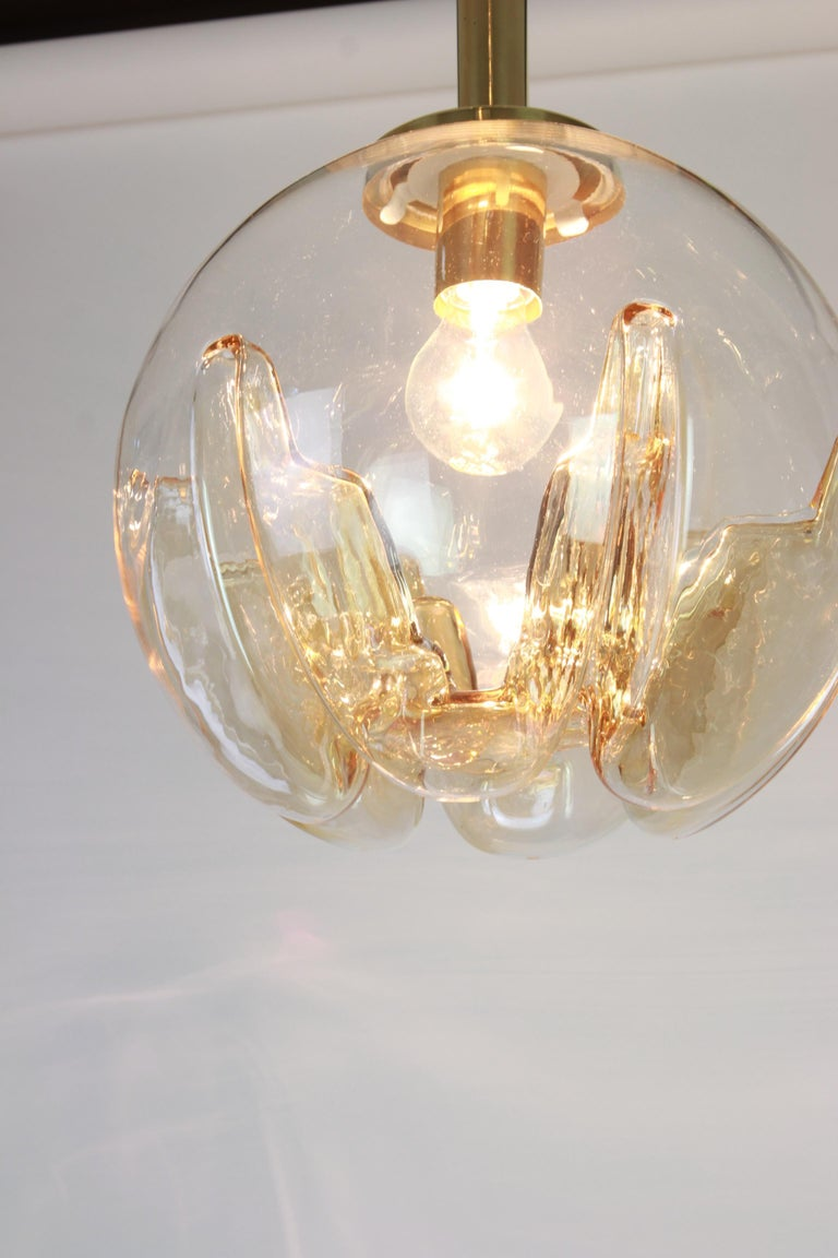 1 of 2 Murano Ball Pendant Light by Doria, Germany, 1970s In Good Condition For Sale In Aachen, DE